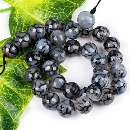 Black Dargon Veins Round Agate