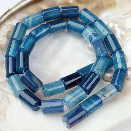 Blue Stripe Agate bead