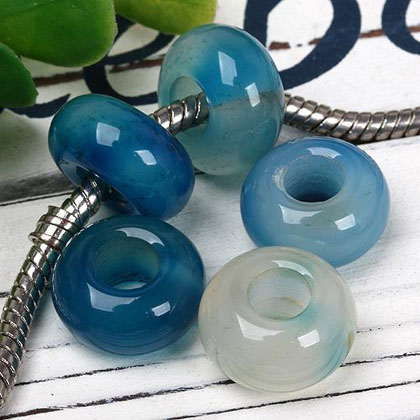 Blue agate European bead