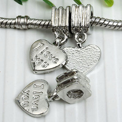 i love you heart european bead charms